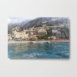 View of Positano from The Sea Metal Print