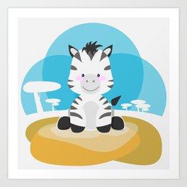 Zebra in the savannah Art Print