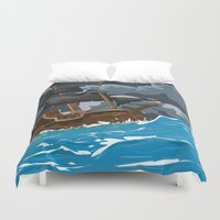 pirate ship Duvet Covers featuring Pirate Ship in Stormy Ocean by Nick's Emporium