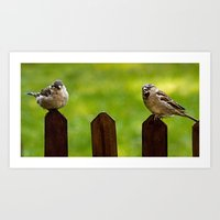 sparrow Art Prints featuring sparrow  by Karl-Heinz Lüpke