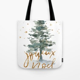 Christmas Tree Watercolors Noel Gold Typography Tote Bag