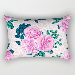 Girly Pink Flowers and Leopard Animal Print Rectangular Pillow
