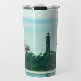 Blue Angels Practicing by Lighthouse, Water Towers, Ocean Travel Mug