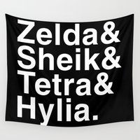 helvetica Wall Tapestries featuring Zelda & Sheik & Tetra & Hylia helvetica list by Meteo Designs