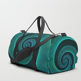Magical Teal Green Spiral Design Duffle Bag