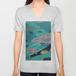Aquarium (Shark Painting) Unisex V-Neck