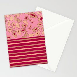 RoseGold: Leopard Stripe + Pink Stationery Cards