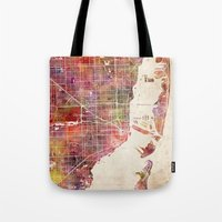 hotline miami Tote Bags featuring Miami by MapMapMaps.Watercolors