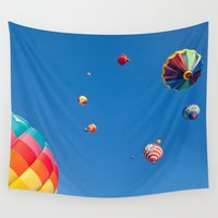aviation Wall Tapestries featuring Vibrant Hot Air Balloons by Nicolas Raymond