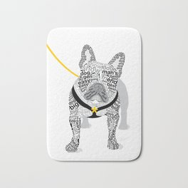 Typographic French Bulldog - Black and White Bath Mat