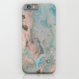 Fluid Art Acrylic Painting, Pour 17, Pastel Pink, Blue, Gray & White Blended Color iPhone Case
