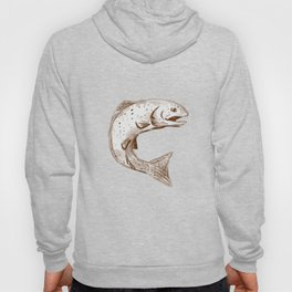 Rainbow Trout Jumping Watercolor Hoody
