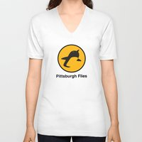 pittsburgh V-neck T-shirts featuring Pittsburgh Flies by Le Pac