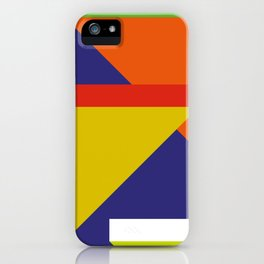 Random colored parallelepipeds flying in a cool blue space iPhone Case