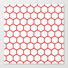 White and red honeycomb pattern Canvas Print