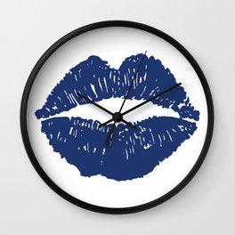 Navy Lips Wall Clock