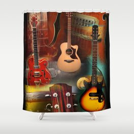 The guitar collage Shower Curtain