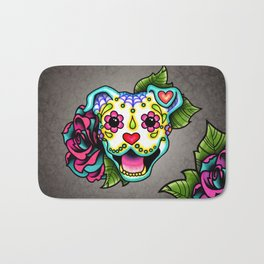 Smiling Pit Bull in White - Day of the Dead Pitbull Sugar Skull Bath Mat