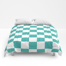 Checkered - White and Verdigris Comforters