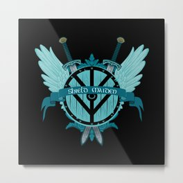 Shield Maiden Winged Teal Viking Shield Metal Print