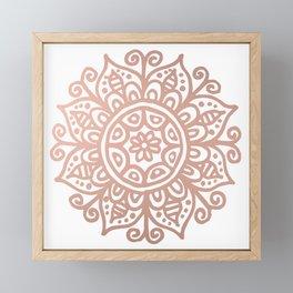 Rose Gold Floral Mandala Framed Mini Art Print