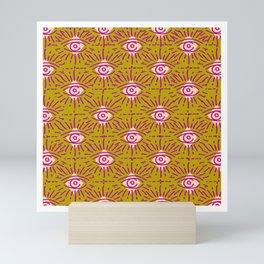 Dainty All Seeing Eye Pattern in Blush Mini Art Print