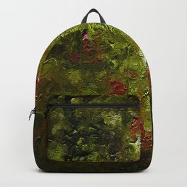 The art of oil painting. Abstract brushstrokes. Night in the garden. Backpack