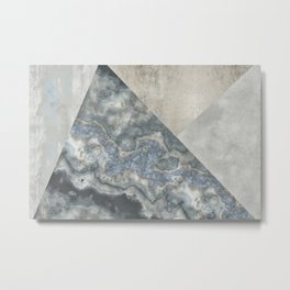 Grey Marble Gemstone Collage Metal Print