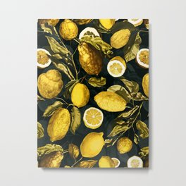 Lemon and Leaf Pattern V Metal Print