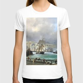 A Breezy Day Off Dover Harbour seascape nautical painting by Julius Hintz T-shirt