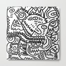 Black and White Graffiti Art of the morning by Emmanuel Signorino  Metal Print