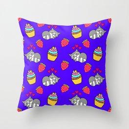 Cute happy sleeping dreaming Kawaii baby raccoon, sweet red summer strawberries and colorful rainbow yummy cupcakes midnight blue design. Nursery decor. Throw Pillow