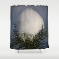 egg Shower Curtains featuring Snow Egg by Dorothy Pinder