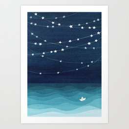 Garlands of stars, watercolor teal ocean Art Print