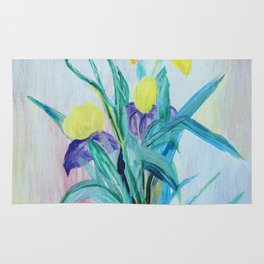 yellow iris on a blue background Rug