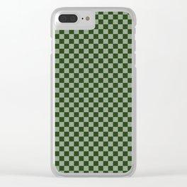 Dark Forest Green Checkerboard Pattern Clear iPhone Case