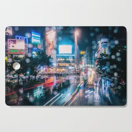 Rainy Night at Shibuyacrossing - throught the window Cutting Board