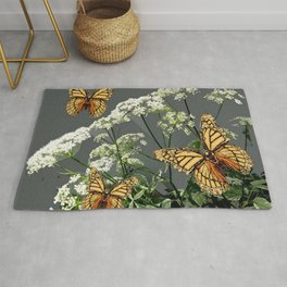 "CREAM COLORED BUTTERFLIES ""SPRING SONG"" LACE FLOWERS Rug"