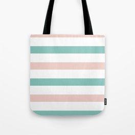 Pink Blue Horizontal Stripes Tote Bag