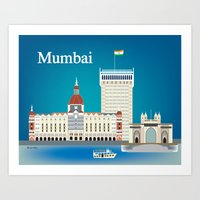Mumbai, India - Skyline Illustration by  Loose Petals LLC Art Print