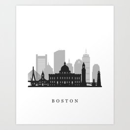 Gray Boston City Skyline Art Print
