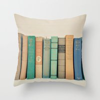 literary Throw Pillows featuring Literary Gems I by Laura Ruth