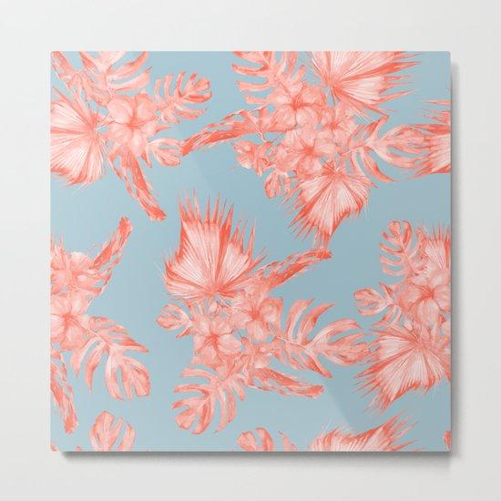 Dreaming of Hawaii Coral on Ocean Blue Metal Print