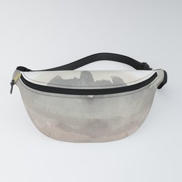 Abstract Watercolor, Black, Brown, Grey Fanny Pack