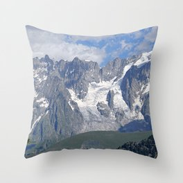 Snowy Mountain Peaks Green Meadows Alpine Landscape Throw Pillow