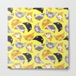 """""""Oro?"""" Cats-Canary Yellow Metal Print"""