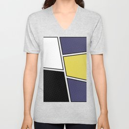 Abstract Geometric Waves Pattern Unisex V-Neck