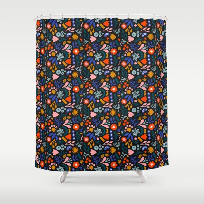 Abstract Botanical Dark Shower Curtain