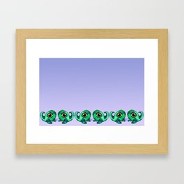 Tadpole Monster in Green Framed Art Print