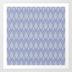 Art Deco Diamond Teardrop - Blue Art Print